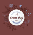 coffee shop round paper emblem over hand sketched vector image vector image