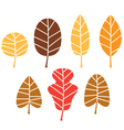 Colorful autumn tree leaves set isolated on white vector image