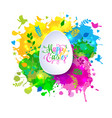 colorful happy easter greeting card with spring vector image vector image