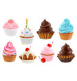 cupcake fairy cake 3d realistic icon set vector image vector image