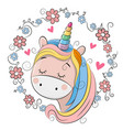 cute cartoon unicorn with flowers vector image vector image