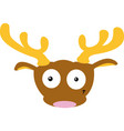 cute reindeer head- flat simple design vector image