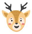cute simple animal deer head cartoon wildlife vector image