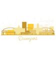 davenport city skyline golden silhouette vector image vector image