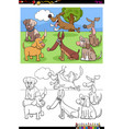 doga and puppies characters group color book page vector image vector image