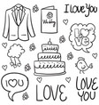 doodle of wedding element design vector image vector image