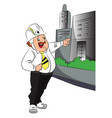 engineer pointing at building vector image vector image