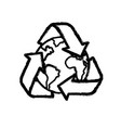 figure earth planet with recycle symbol design vector image