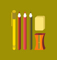 flat icon on stylish background pencil eraser pen vector image