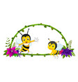 frame of bamboo and bee vector image vector image