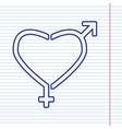 gender signs in heart shape navy line vector image vector image
