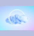 glowing neon circle shape in a cloud fog vector image