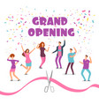 grand opening concept with happy dancing people at vector image