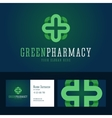 Green pharmacy logo and business card template vector image vector image