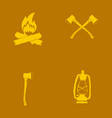 hand drawn forest camping vacation objects set vector image
