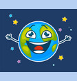 happy earth with face and broad smile among stars vector image