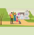 happy family near home vector image vector image
