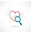 heart magnifier grunge icon vector image