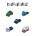 isometric automobile set of suv lorry truck and vector image vector image