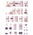 kitchen equipment and furniture set vector image vector image