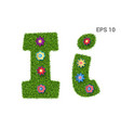 letter ii with a texture of grass and flowers vector image