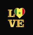 love typography senegal flag design gold lettering vector image vector image