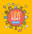low rent banner vector image vector image