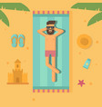 man sunbathing at the beach flat vector image vector image