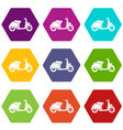 motorbike icon set color hexahedron vector image vector image