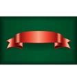 Red ribbon satin bow banner green vector image vector image