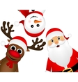 Santa Claus with reindeer and a snowman standing vector image vector image