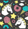 seamless pattern with unicorn on black background vector image