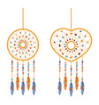 set of dreamcatchers handmade willow hoops round vector image vector image
