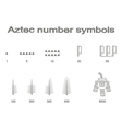 Set of monochrome icons with Aztec number symbols vector image vector image