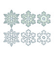 set snowflakes with three different ornaments vector image vector image