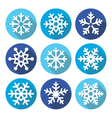 Snowflakes Christmas flat design round icons vector image vector image