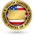 South Dakota state gold label with state map vector image vector image