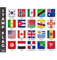 stamp with official country flag set 1 12 vector image