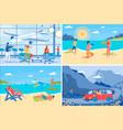summer vacation at seashore backgrounds set vector image vector image