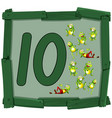 ten frog on wooden banner vector image