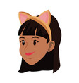 tigress woman in costume with ears party halloween vector image vector image