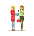 Two Girls Discussing A Book Smiling Person In The vector image vector image