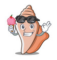 with ice cream cute shell character cartoon vector image vector image