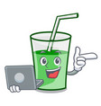 with laptop green smoothie character cartoon vector image