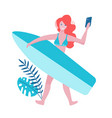 young woman in summer beach outfit making selfie vector image