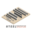 many shape section steel isometric vector image