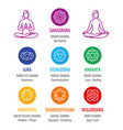human energy chakra system asana icons set vector image