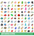 100 shoes icons set isometric 3d style vector image