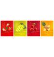 3d fresh fruits fresh fruits juice splashing vector image