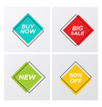 4 square geometric sale tags in bright colors vector image